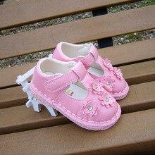 2016 Baby Girl Shoes PU Leather Baby First Walkers Antislip Chaussure Enfant Lovely Flower Bebes Footwear Bebek Ayakkabi 13-15cm