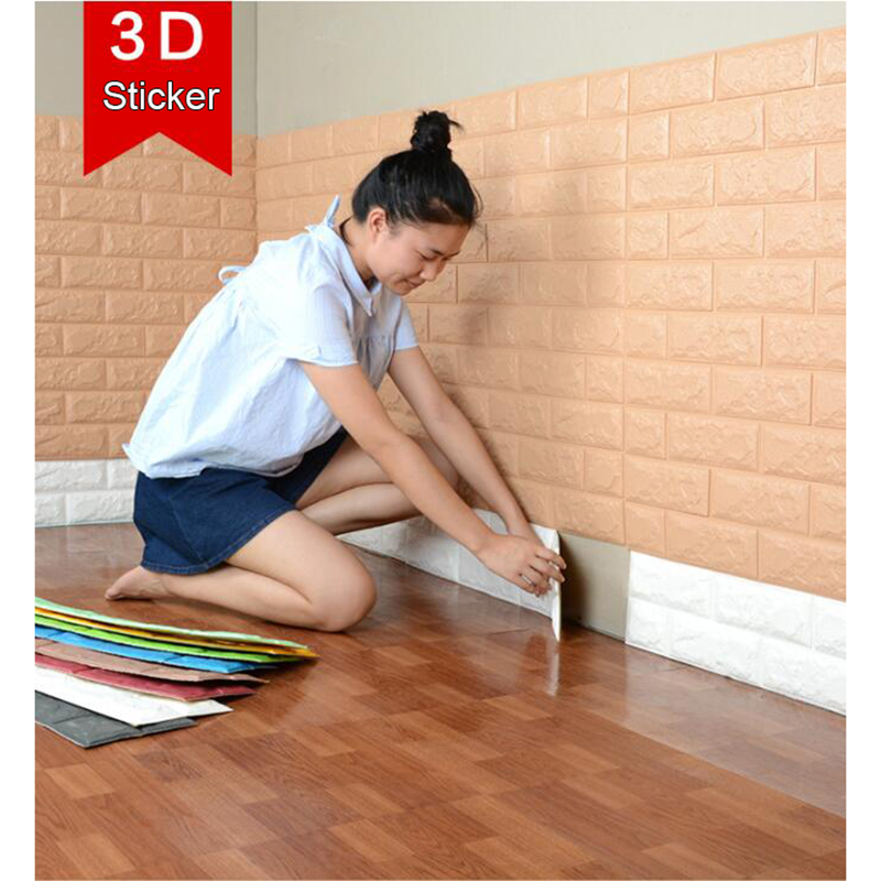 70x77cm DIY 3D Wall Stickers PE Foam Safty Home Decor Wallpaper DIY Wall Decor Brick Living Room Kids Bedroom Decorative Sticker