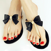 High Quality Summer Women Shoes Toe Bow Jelly Flat Flip Flop Rhinestone Sandals Women Sandals Black