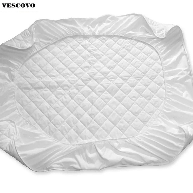 Round Cotton Mattress Protective Cover With Rubber Fillings Pad Thin Sanding For Four