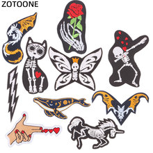 ZOTOONE Morale Embroidery Skull Patch Rose Flower Applique on Clothes Iron Punk Embroidered Patches for Clothing E