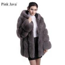 معطف وردي جافا QC8149 2018 موديل جديد للنساء من فرو الثعلب الحقيقي بأكمام طويلة مع غطاء للرأس gebuine fox جودة عالية