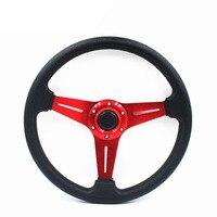 Universal 14inch 350mm Aluminum Frame Sport Racing Steering Wheel PU Leather Momo Steering Wheel With Horn