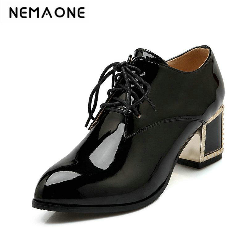 Pointed toe Lace up Square heel Women high heels pumps Big size 34-43 Spring Autumn Causal Black Red beige Women shoes