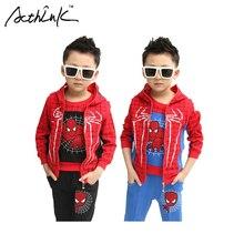 ActhInK Nouveau 3 Pcs Enfants Spiderman Hiver Costume Costume Garçons Costume de Sport De Mode Enfants Printemps Spiderman Survêtement pour les Garçons, C049