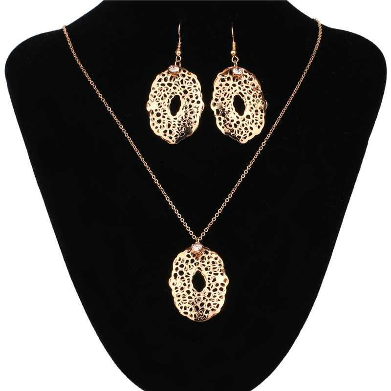 2017 New Arrival Wedding Jewelry Sets Fashion Rose Gold Hollow Pendant Statement Necklace & Crystal Drop Earrings Fine Jewelry