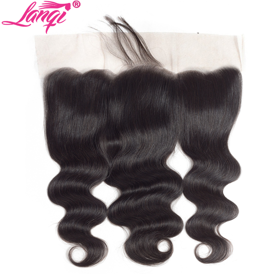 LanQi Brazilian hair Body Wave Lace Frontal Closure Bleached Knots With Baby Hair Human hair Frontal