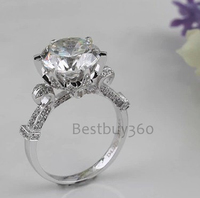 Vintage jumbo big size NSCD Simulated Diamond Wedding engagement Ring Wholesale 18K Platinum Plated Jewelry For Women Gift (BB)