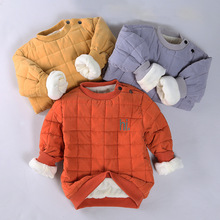 Baby children winter plus cotton velvet jacket 2-10 year old boys and girls plus cotton warm sweater 3 colors