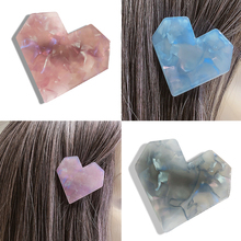 Women Fashion Acrylic Heart Shape Hair Accessories Marble Texture Unique Headwear Sweet Girl Female Clip
