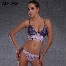 f027e8be3227b Sexy Women Print Swimsuit Beach Girls Retro Swimwear Halter Bikini High  Quality Tiny Bikini Set B366