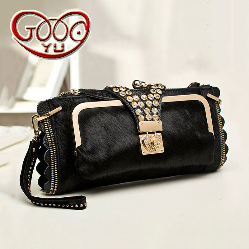 New horse hair clutch leather rhinestone handbags Europe and the United States shoulder diagonal package zipper buckle packet ch marxism and darwinism