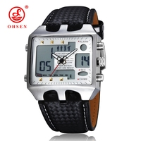 OHSEN LED Mens Black Dial Face Digital Analog Day Date ALarm Leather Band Metal Case Dial