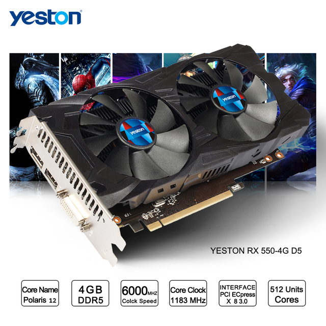 US $109 87 10% OFF Yeston Radeon RX 550 GPU 4GB GDDR5 128bit Gaming Desktop  computer PC Video Graphics Cards support DVI/HDMI-in Graphics Cards from