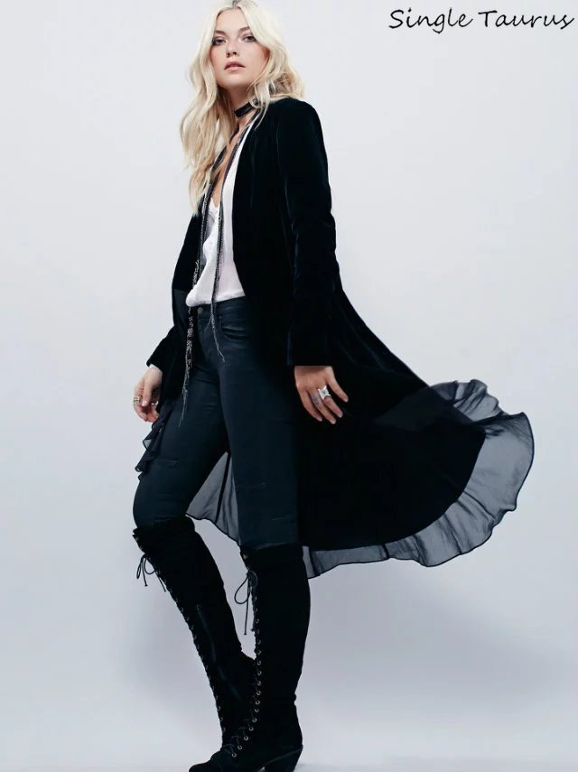 Elegant Velvet Chiffon Ruffles   Trench   Coat Women England Open Stitch Dovetail Casaco Feminino Office Lady Velvet Duster Blazer