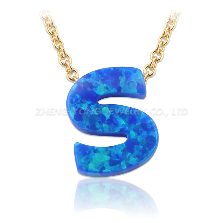 450e69bf1 Beautiful Synthetic Letter S Blue Opal Pendant Silver Plated Necklace For  Women