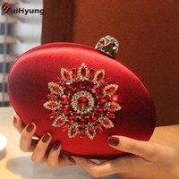 New Women Exquisite Silk Clutch Luxury Colored Diamond Flower Oval Evening Bag Banquet Dinner Party Handbag Ladies Shoulder Bag