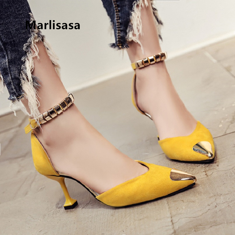 Marlisasa Femmes Hauts Talons Women Cute High Quality Pointed Toe High Heel Pumps Female Fashion Casual Green Office Pumps F702