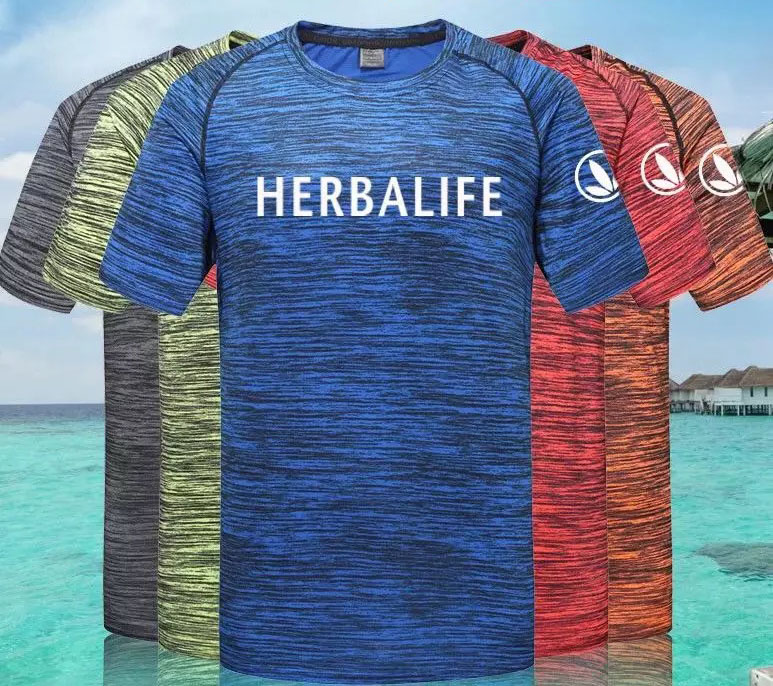 Herbalife T-shirt Man Round Collar Short Sleeve Camouflage Couple Style Sports Fitness Square Dance Quick Dry T-shirt