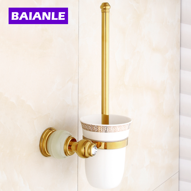 Free Shipping Jade Golden Brass Bathroom Accessories Toilet Brush Holders with Cup Set Wall Mounted Sanitary Wares free shipping high quality bathroom toilet paper holder wall mounted polished chrome