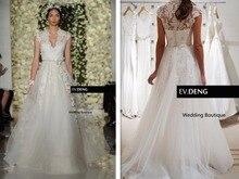 A-line robe de mariage casamento vestido de noiva appliques lace 2018 v-neck belt button Bridal Gown mother of the bride dresses