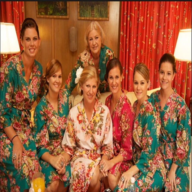 2017 Bridesmaid Robes Silk Fl Robe Bathrobe Women Bride Wedding Short Style Kimono