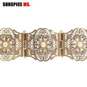 Image 3 - SUNSPICE MS ניגריה Fahion נשים חתונה שמלת חגורת המותניים שרשרת זהב כסף צבע מתכוונן אורך רחב מתכת אבזם תכשיטים