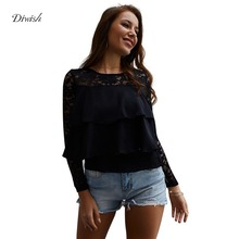 Diwish Woman Blouses Spring 2019 Lace Patchwork Solid Black Blouse Women Cascading Ruffle Elegant Long Sleeve Blouse Sheer Top