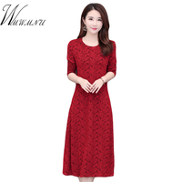 New Autumn Winter Long Sleeve Dress Hot Sale O Neck Ladies Office Work Casual Dress High Quality Elastic Big Size 5XL Mom Dress