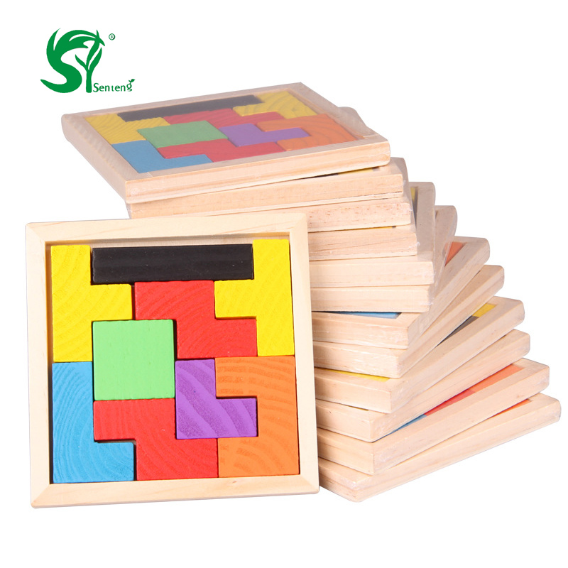цена на Montessori Wooden Toys For Children Tangram Brain Teaser Puzzle Tetris Game Educational Baby Kid Gift Educational 3D Puzzles