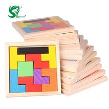 Rompecabezas de madera Tangram Puzzle Tetris Juego Educativo Bebé Niño Juguete para niños para chileren Envío gratis S1