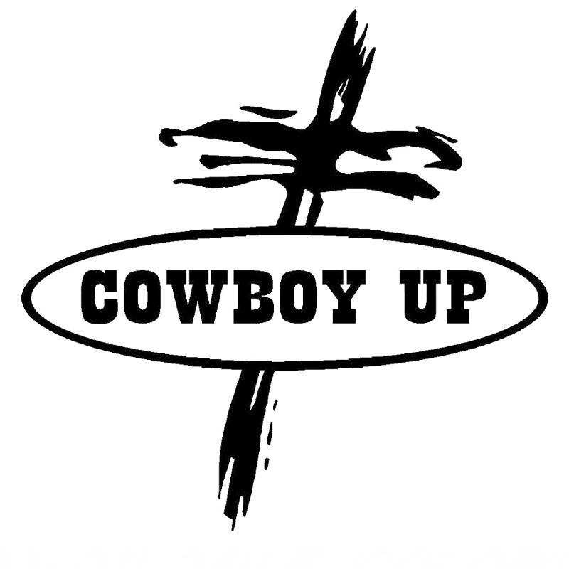 Us 1 07 40 Off 15 2cm 15 2cm Cowboy Up Cross Sticker Vinyl Decal Car Truck Window Church Cars Creative Sticker Decoration Black Sliver C8 1009 In