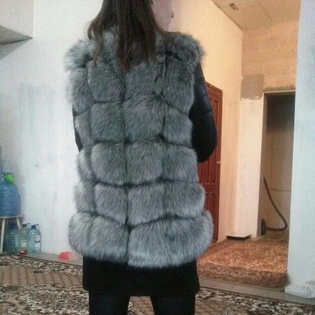 2017 New High Quality High Imitation Silver Fox Fur Coat PU Sleeves Warm Winter Coat Fox Coat Big Yards Overcoat