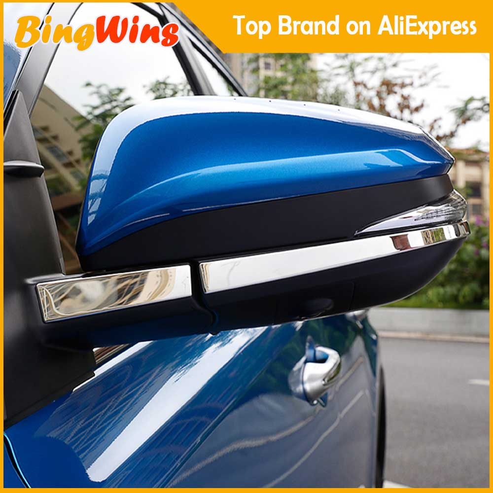 Car stlying Accessories For TOYOTA RAV4 <font><b>RAV</b></font> <font><b>4</b></font> 2016 2017 <font><b>2018</b></font> Stainless Steel Side Door Mirrors Rearview Stripe Cover Trim Kit image
