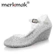 Billig! 2016 sommer Stil Sommer Schuhe Frau Zwängt Sandalen High Heels Frauen Sommer Schuhe Glass Slipper Jelly Schuh Freies Verschiffen