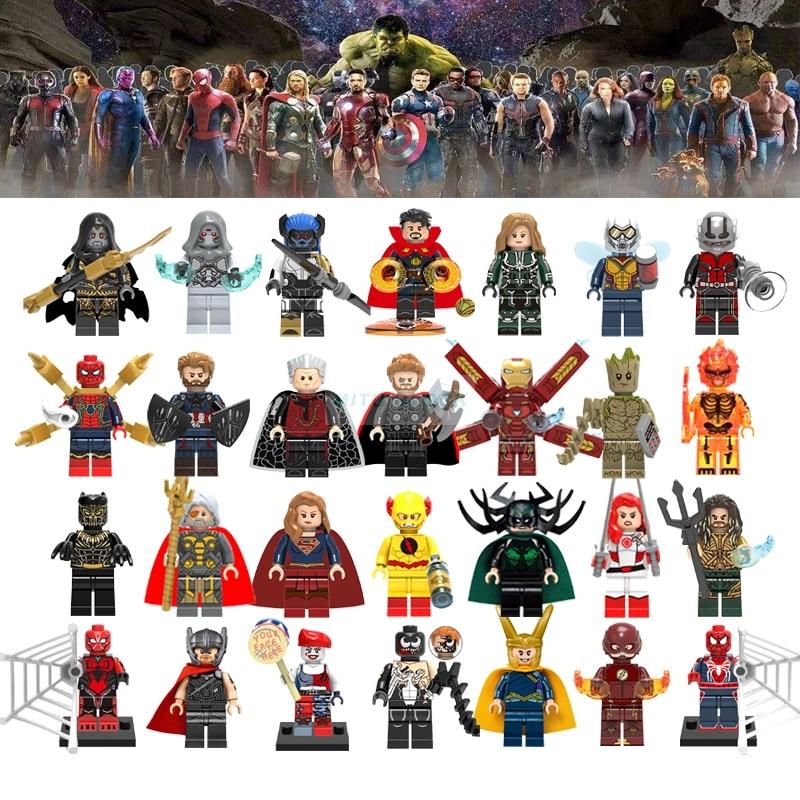 For Marvel Avengers Infinity Wars Batman Figure Iron Man Spiderman Black Panther Loki Aquaman Building Blocks Kid Toys