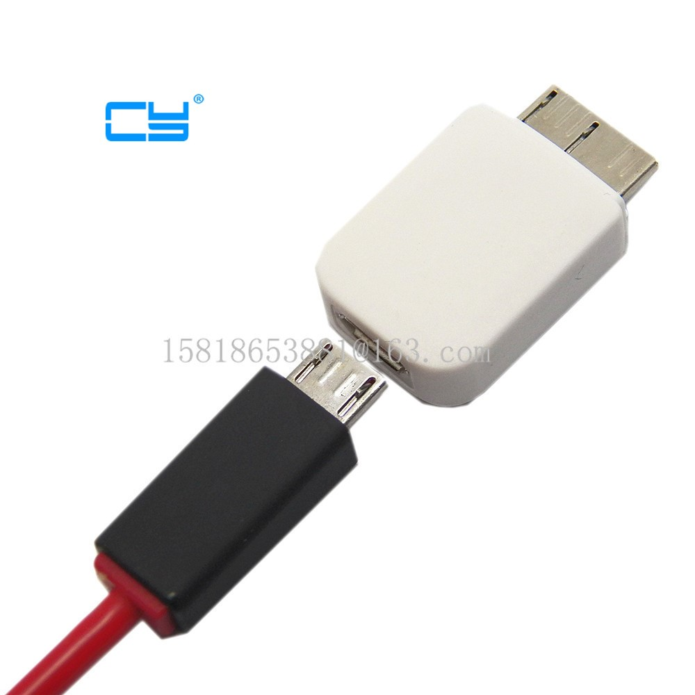 Micro USB 5 Pin Female To Micro USB 3.0 Micro B 9 Pin Male Adapters For Samsung Galaxy Note 3 N9000 N9005 White Free Shipping