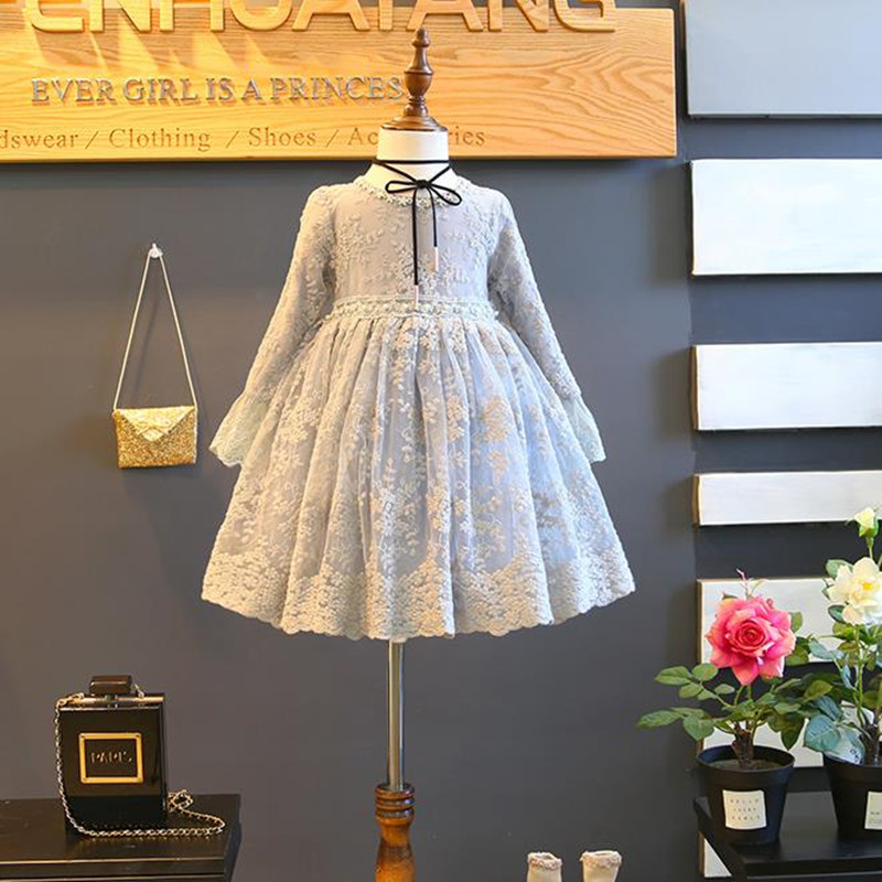 DFXD Kids Girls Princess Dress Spring Autumn 2018 High Quality Long Sleeve Lace Embroidered A-line Girl Dresses Vestido 2-8Years