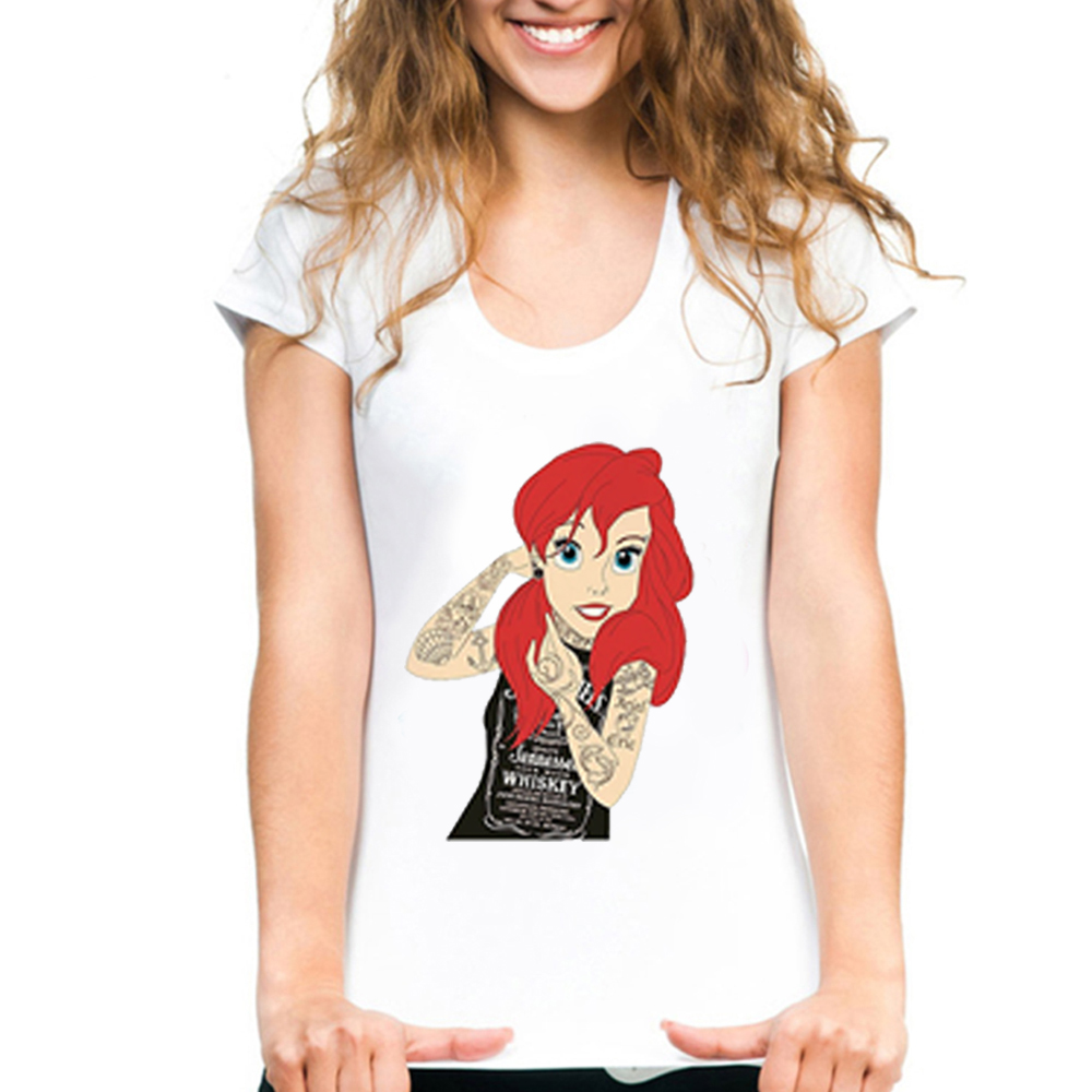 Women's Tshirt Little Mermaid Print Funny Bad Girl Ariel T Shirt Girl Cartoon Summer Casual Short Sleeve Punk Tattoo Tee Vogue