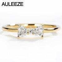 AULEEZE Bowknot 디자인 0.32 cttw 천연 다이아몬드 반지 억양 18 천개 옐로우 골드 진짜 다이아몬드 약혼 결혼 반지