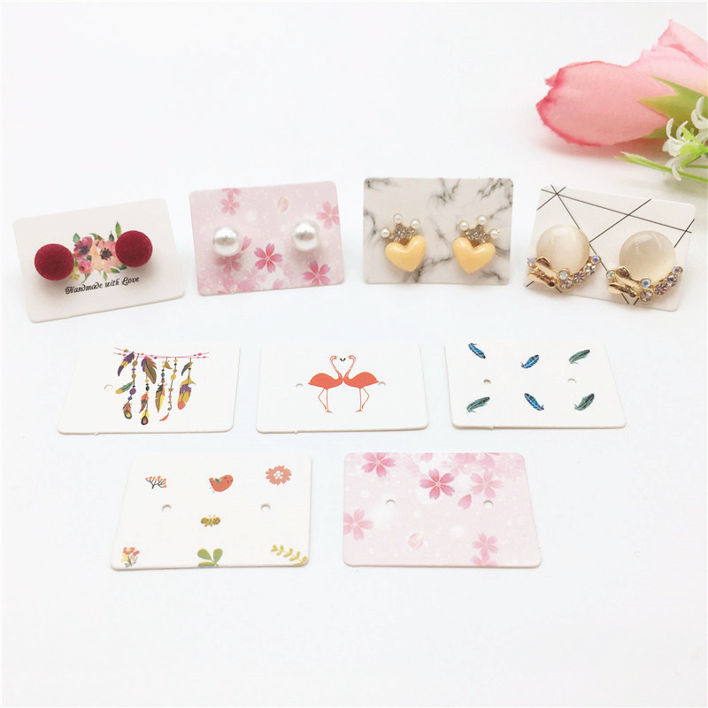 300pcs 3.5x2.5cm High-quality White Stud Earring Packing Hang Tag ,Handmade With Love Jewelry Eardrop/Stud Display Labels Card