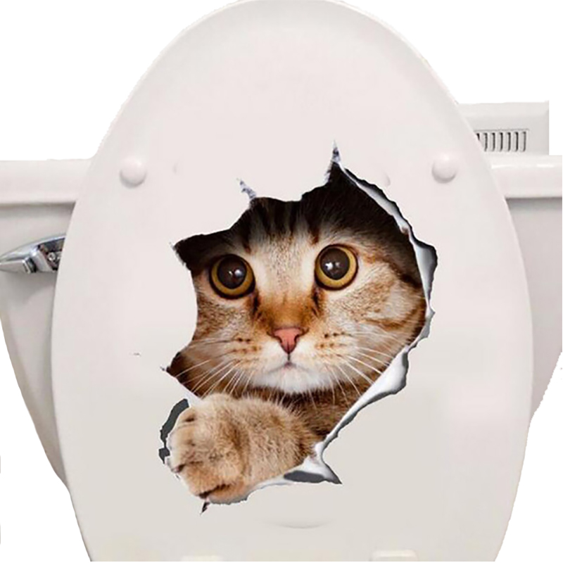 Cats 3D Wall Sticker Toilet Stickers Hole View Vivid Dogs Bathroom - Home Decor