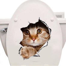 Cats 3D Wall Sticker Toilet Stickers Hole View Vivid Dogs Bathroom Home Decoration Animal Vinyl Decals Art Sticker Wall Poster(China)