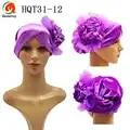 HQT31 Nigeria headtie with 3D flower Mutil Color Velvet Tuban Cap Head Wrapper ready made Caps gele