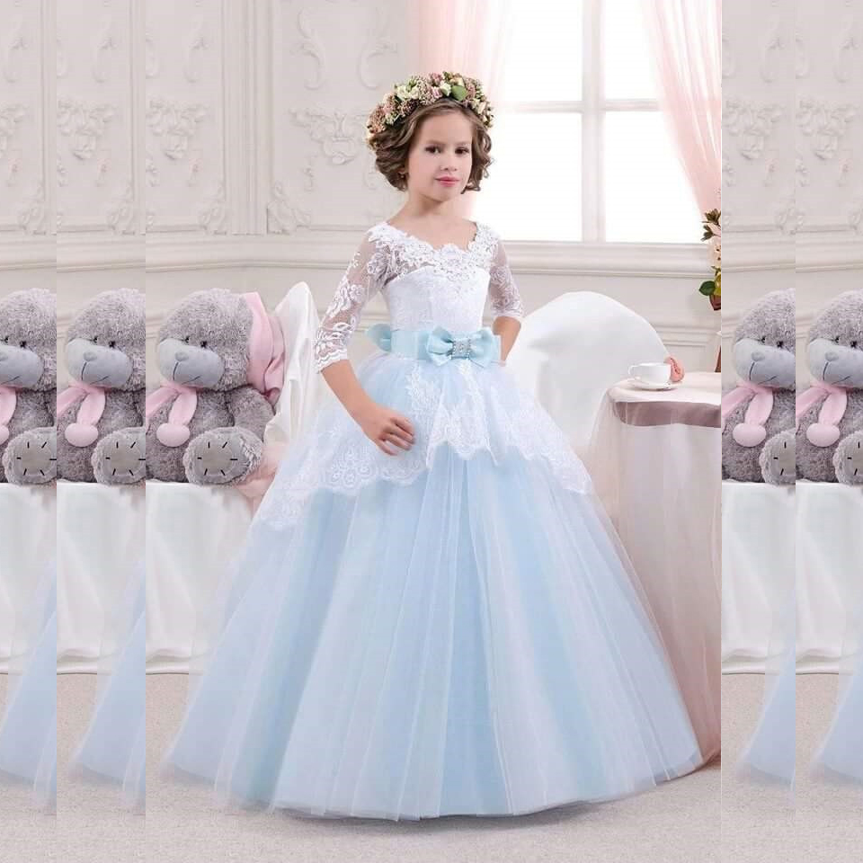 Fashion Kid White Lace Ball Gown Light Blue Sashes Three Quarter Sleeve Flower Girl Dress for Wedding Party Custom Made