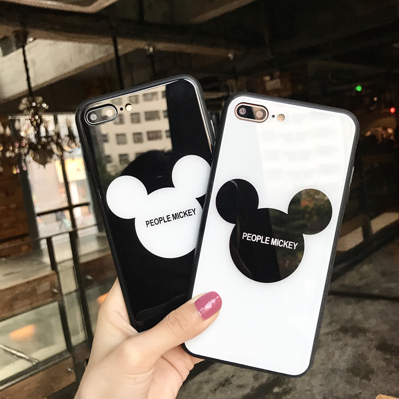 Ins Hot Lovely Carton People Mickey Candy Pink Color Mirror Glass Cute Round Ears Lovely Head Case For iPhone x 10 6 7 8 Plus