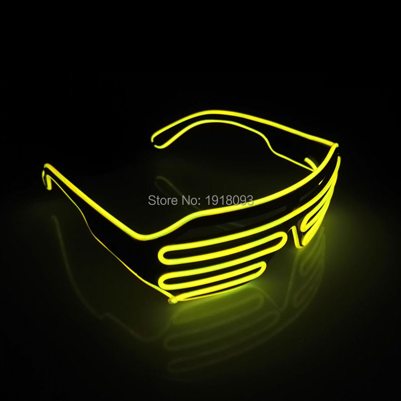 High-grade Fashion Color Yellow EL Wire Glowing Shutter Glasses Neon LED Light Up Glasses Costume Holiday Party Lighting
