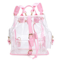 2018 New Fashion Women's Transparent Plastic Backpack Security Waterproof Backpack Bag Travel Bag Mochila Transparente YJJ34