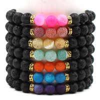 Fashion Style Chakra Healing Beaded Bracelet For Women Black Natural Lava Stone Diffuser Bracelet Jewelry Armbanden Voor Vrouwen
