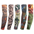 Outdoor Nylon Fake Tattoo Arm Warmers Oversleeve Cycling Temporary Tattoo Arm Sleeves Exercise Sunscreen
